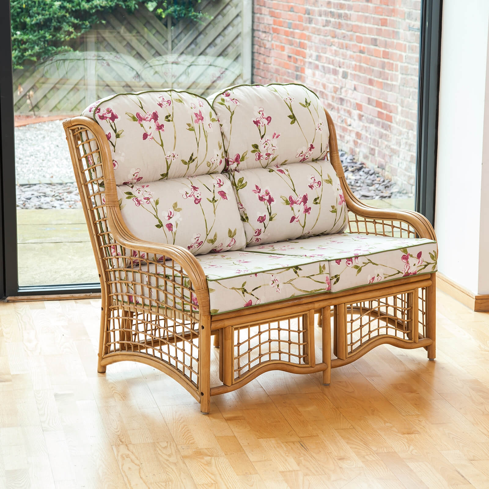 Bali Cane 2 Seater Conservatory Furniture Sofa with Luxury