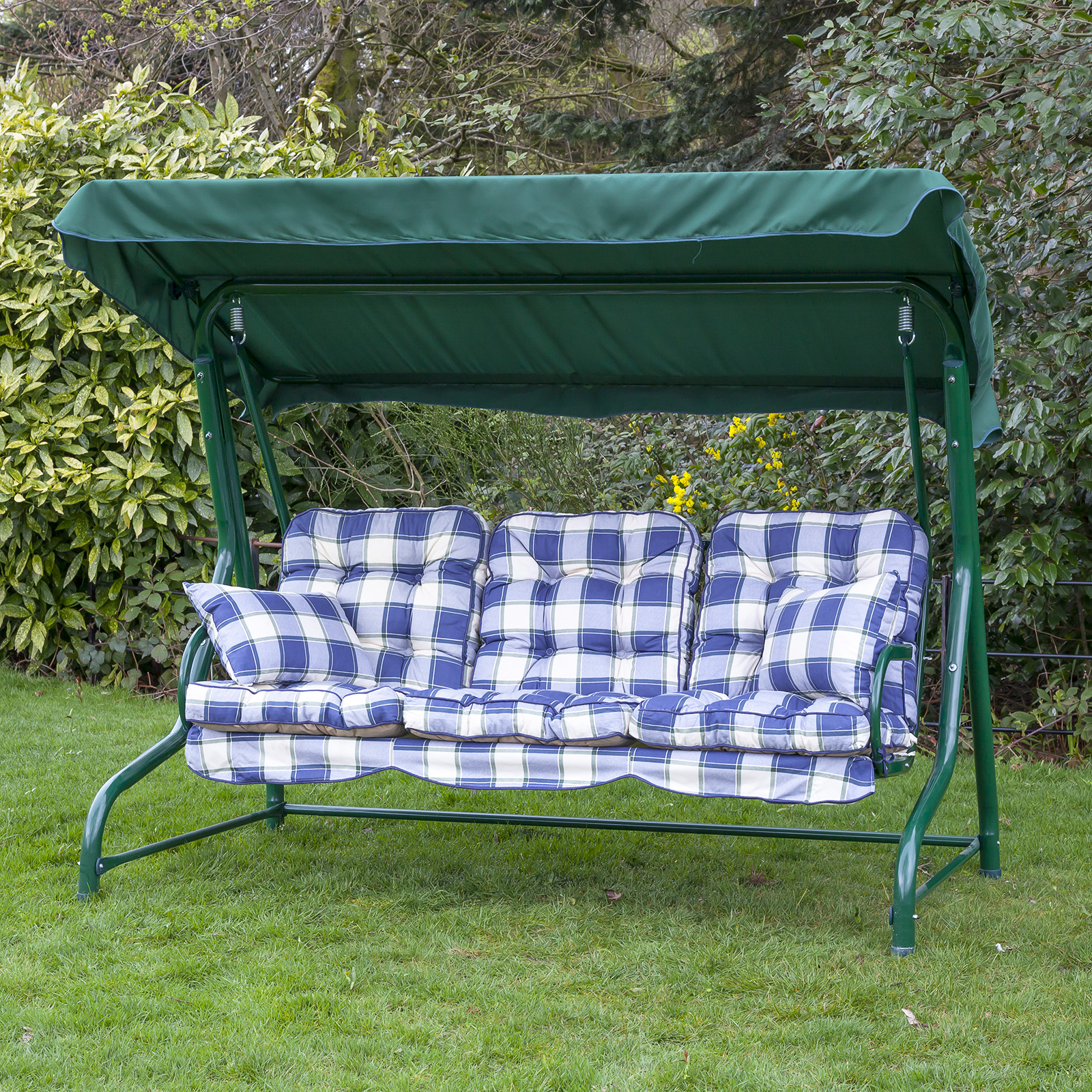 Garden 3 seater replacement swing seat hammock cushion set choice of colours ebay - Garden furniture swing seats ...