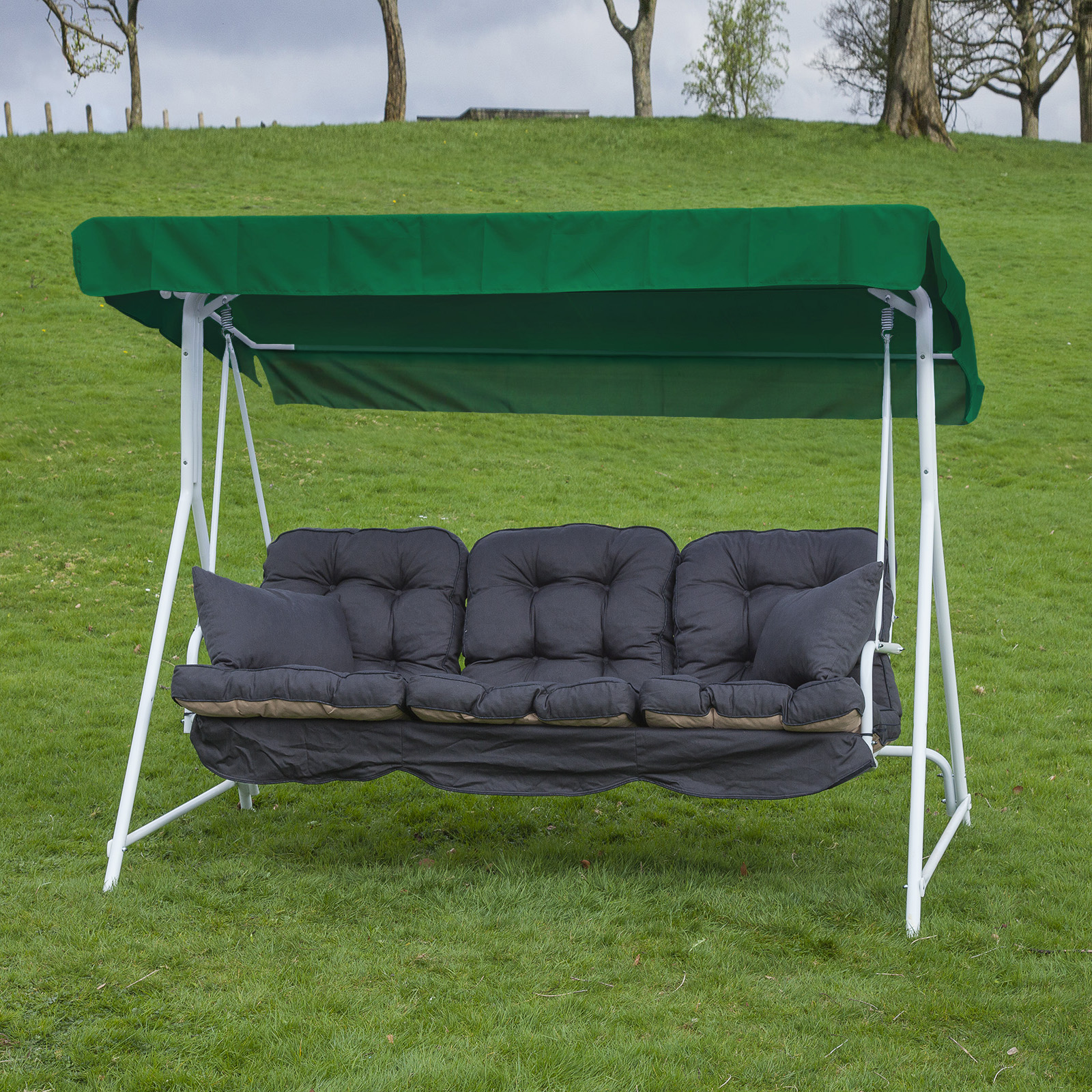 garden patio 3 seater white swing seat hammock with. Black Bedroom Furniture Sets. Home Design Ideas