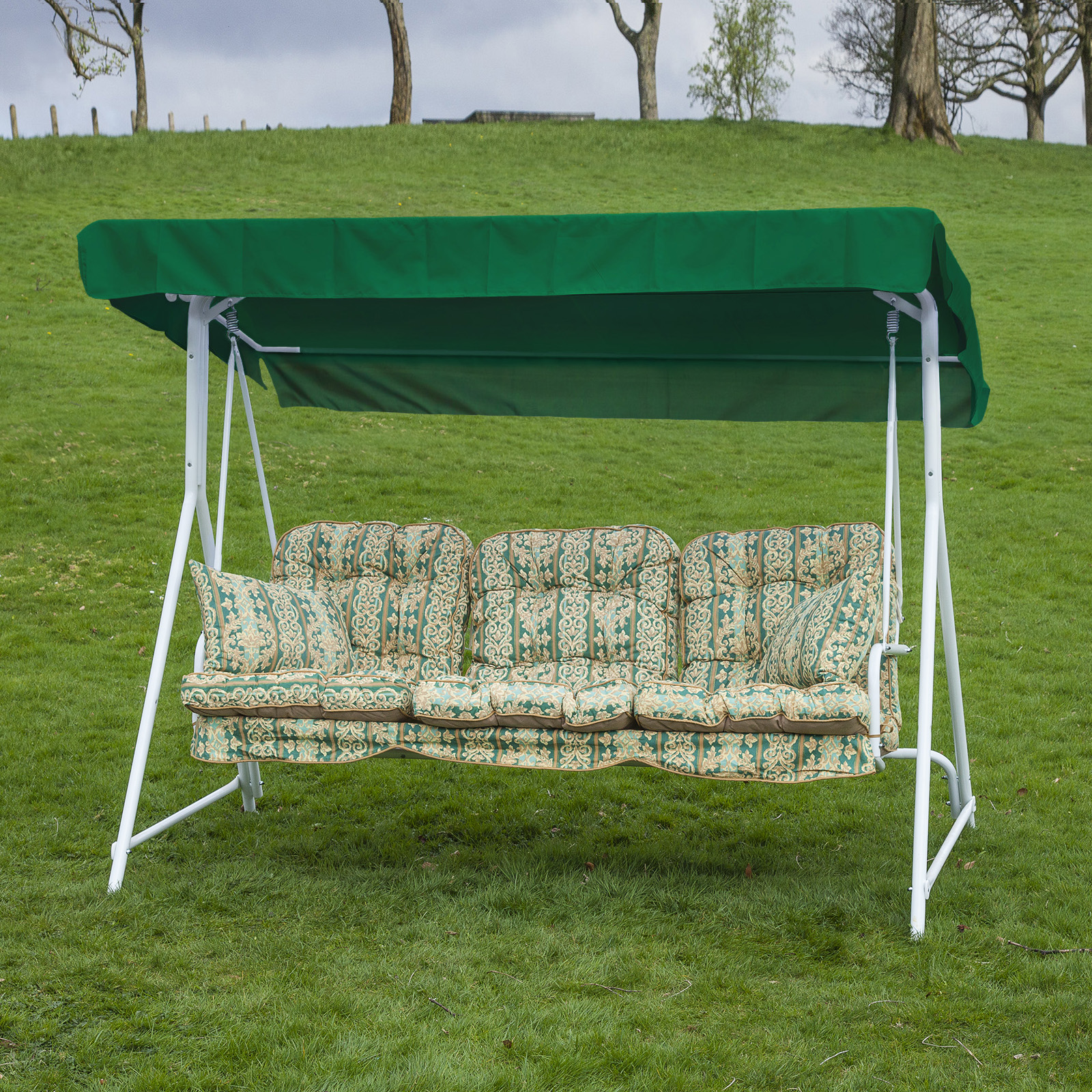 Garden patio 3 seater white swing seat hammock with for Garden swing seat plans