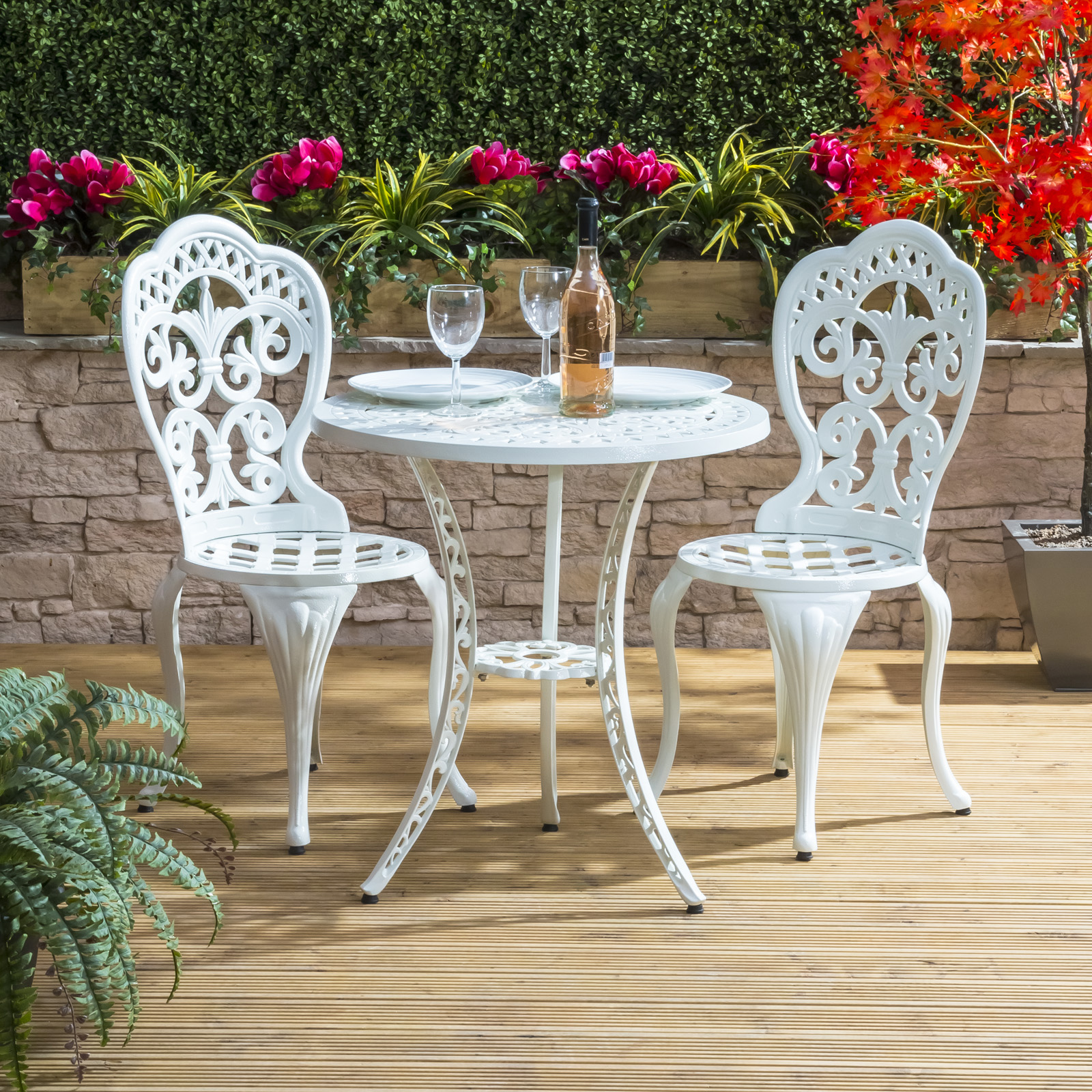 Alfresia garden furniture patio cast aluminium caf bistro for Garden furniture table and chairs