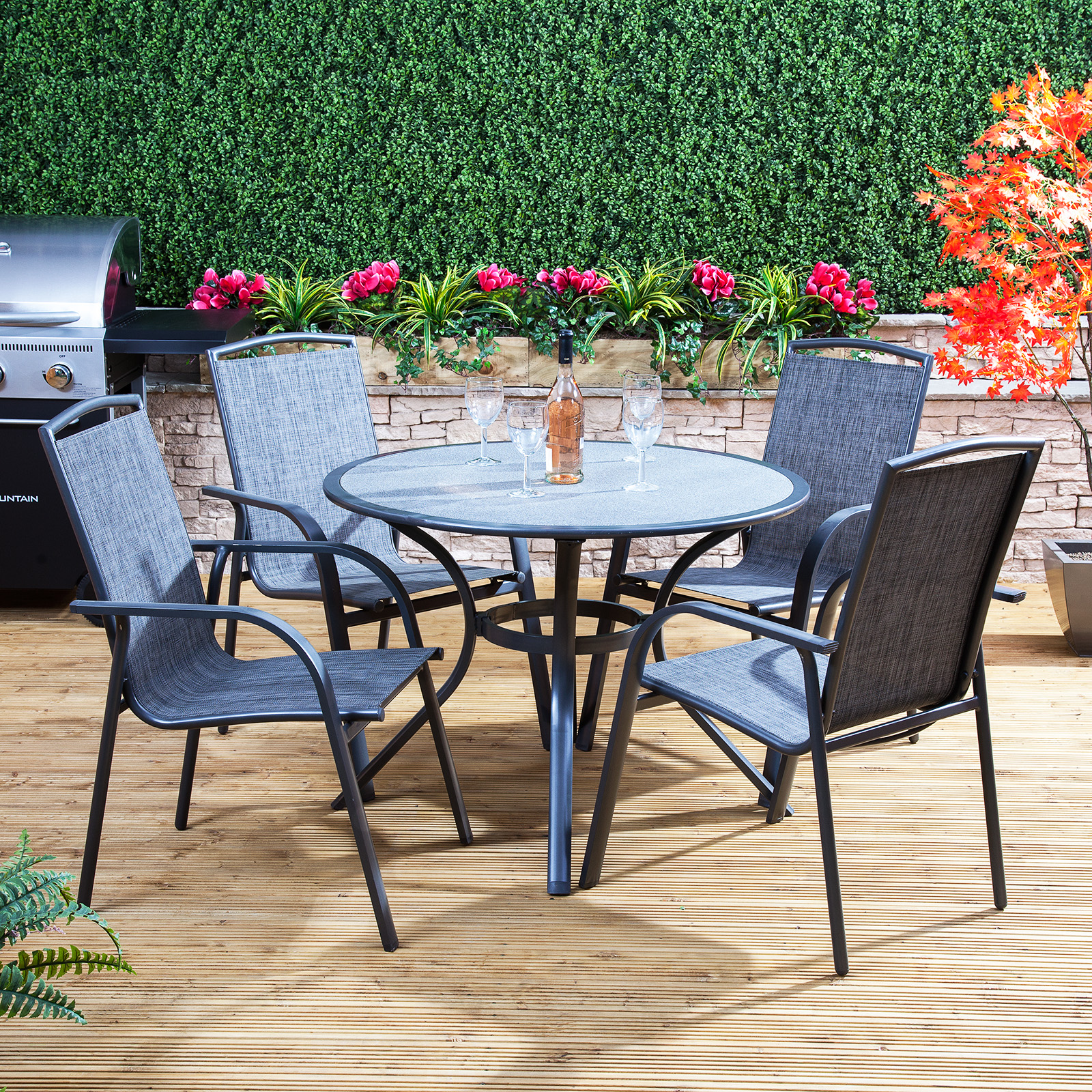 Alfresia Arizona Round Garden Furniture Set Outdoor Dining Table And 4 Chairs Ebay