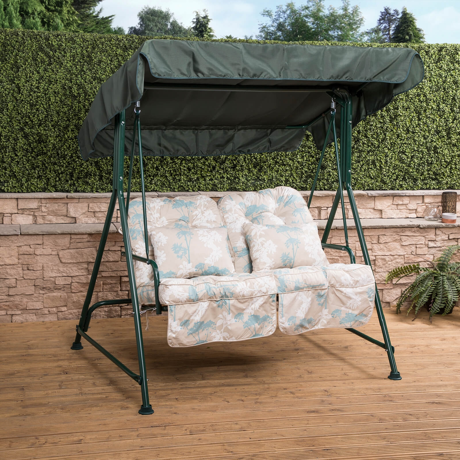 Mosca 2 Seater Garden Patio Swing Seat Green Frame with Classic