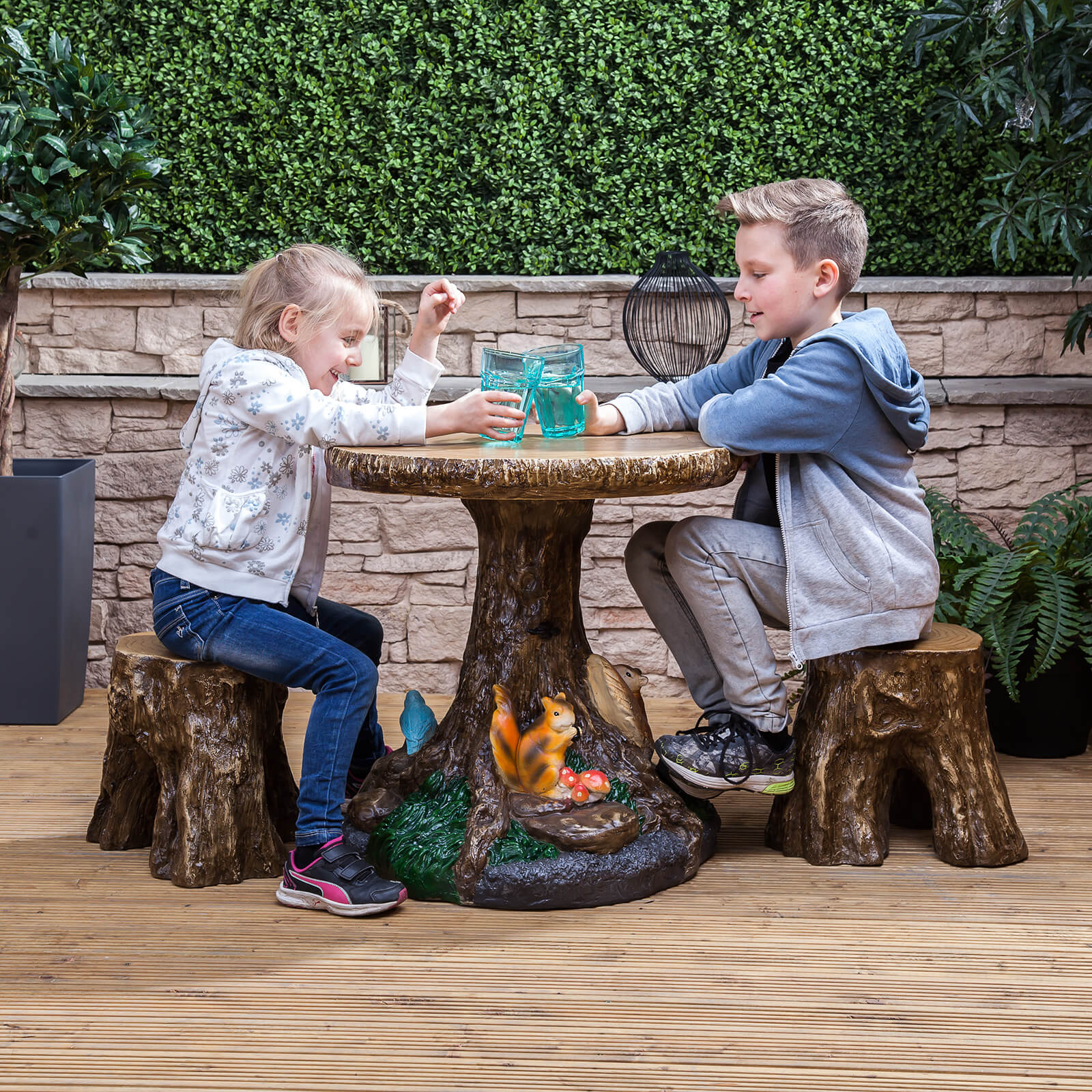 Kids forest outdoor garden patio table stools furniture for Kids outdoor furniture
