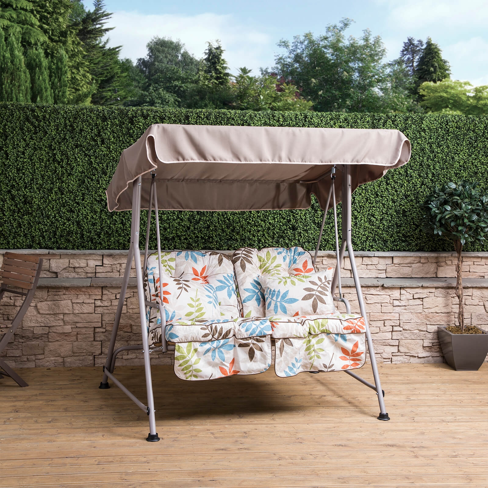 Image Is Loading Mosca 2 Seater Garden Swing Seat Natural Frame