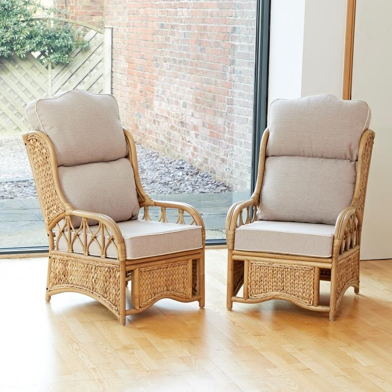 2 penang cane conservatory furniture armchairs with high back luxury