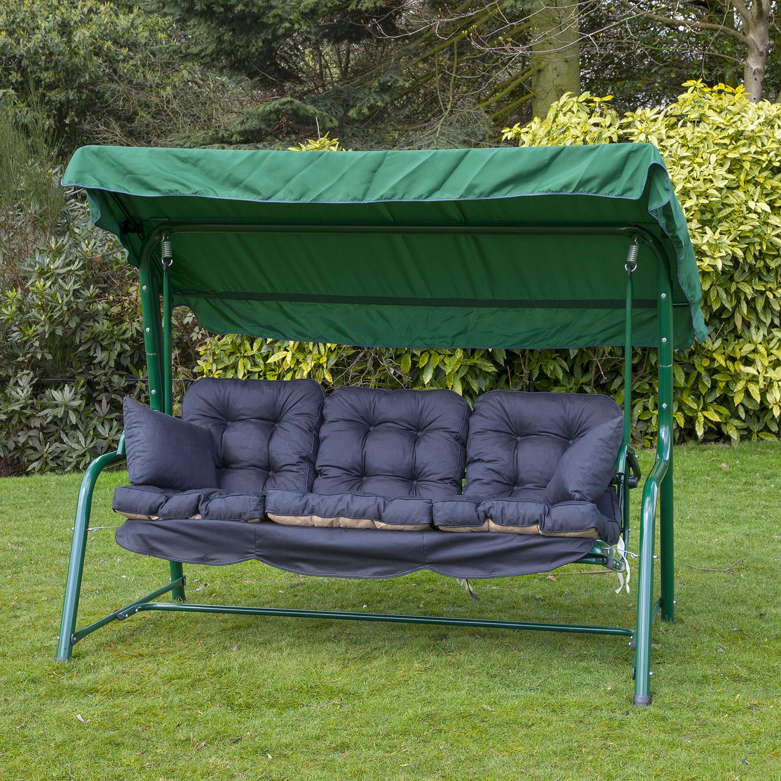 Garden 3 Seater Replacement Swing Seat Hammock Cushion Set ...