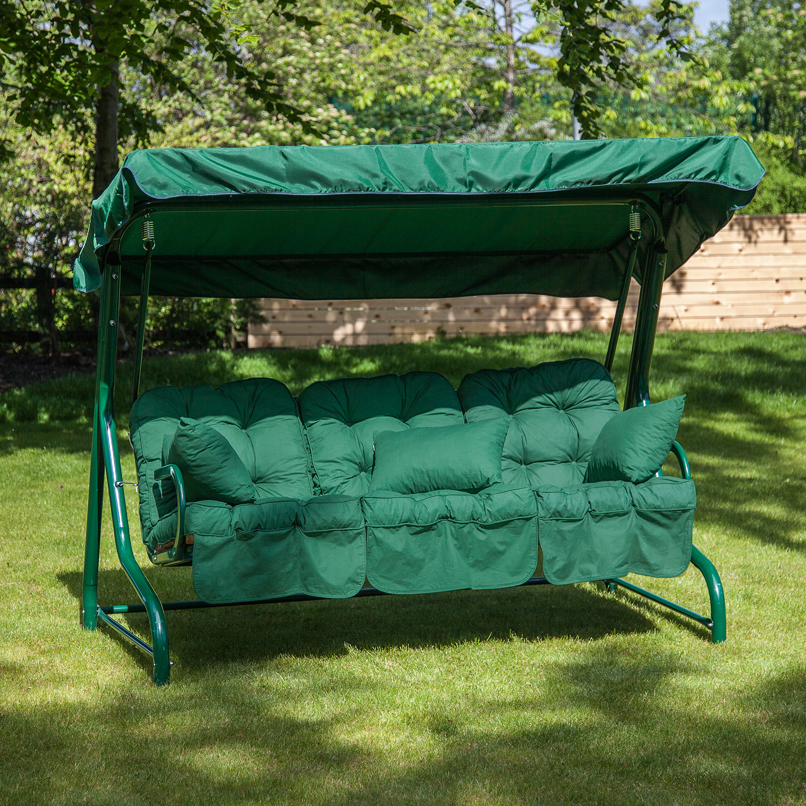 Roma 3 Seater Garden Patio Swing Seat - Green Frame with ...