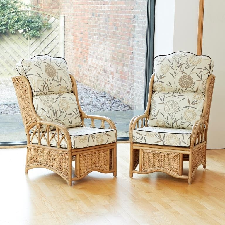 2 Penang Cane Conservatory Furniture Armchairs With High